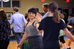 Kelsey Foster and Joel Dettweiler partned up during one of the dances at the ContraCola dance on Feb. 18. Both are frequent attendees of the dances.