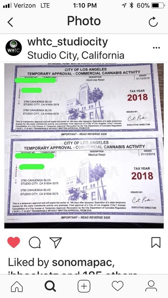 WHTC Studio City Los Angeles Marijuana License