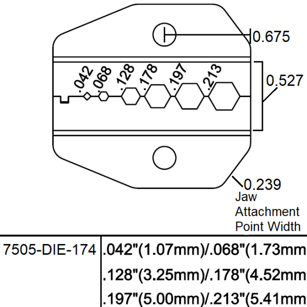 7505-DIE-174 drawing and spec sheet - Max-Gain Systems, Inc.