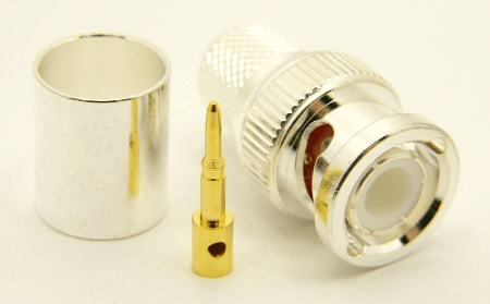 BNC-male, cable end, crimp-on, silver / Teflon for RG-8, RG-11, RG-83, RG-213, RG-214, RG-393, LMR-400, Belden 8267, Belden 8268, Belden 9011, and Belden 9913 coaxial cable. (P/N: 7005-400)