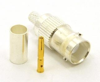 BNC-Female, cable end, crimp-on, silver / Teflon for RG-142, RG-400, RG-58, RG-58A/U, LMR-195, LMR-200, Belden 7807, Belden 8219, Belden 8259, and Belden 9201 coaxial cable. (P/N: 7006-58)