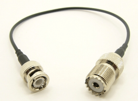UHF-female / BNC-male with 10 inches of RG-174 coaxial cable (P/N: 7060-CBL-10)