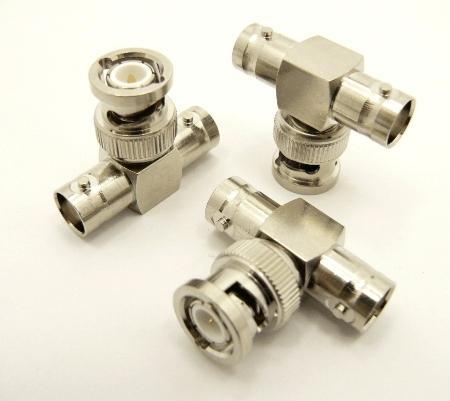 BNC-female / BNC-male / BNC-female Adapter, Tee (P/N: 7077-T)