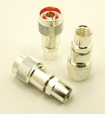 N-male, cable end, solder-on, silver / Teflon for RG-8, RG-11, RG-83, RG-213, RG-214, RG-393, LMR-400, Belden 8237, Belden 8267, Belden 8268, Belden 9011 and Belden 9913 coaxial cable. (P/N: 7303)