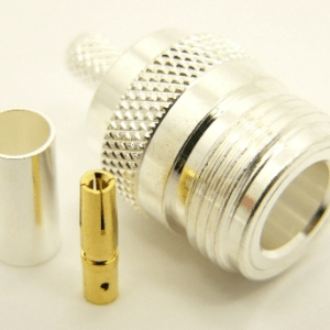 N-female, cable end, crimp on, silver plated brass body, Teflon Dielectric, gold pin, for RG-142, RG-400, RG-58, RG-58A/U, LMR-195, LMR-200, Belden 7807, Belden 8219, Belden 8259, and Belden 9201 coaxial cable. (P/N: 7306-58)