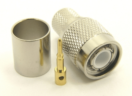 TNC-male, cable end, crimp-on, nickel / Delrin for for RG-8, RG-11, RG-83, RG-213, RG-214, RG-393, LMR-400, Belden 8237, Belden 8267, Belden 8268, Belden 9011, and Belden 9913 coaxial cable. (P/N: 7405-400)