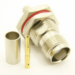 TNC-female bulkhead, cable end, crimp-on, for RG-142, RG-400, RG-58, RG-58A/U, LMR-195, LMR-200, Belden 7807, Belden 8219, Belden 8259, and Belden 9201 coaxial cable. (P/N: 7407-58)