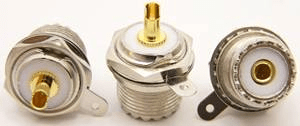UHF-female, single hole panel mount with grounding lug, Solder-on (P/N: 7512)