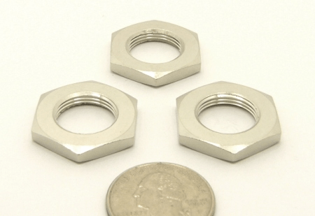 Large diameter panel nut for all, 518 and 318 series, UHF- and N- double females (P/N: 7518-L-NUT)