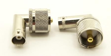 BNC-female / UHF-male Adapter, Right Angle (P/N: 7519-RA)