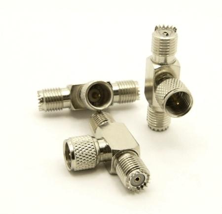 mini-UHF-female / mini-UHF-male / mini-UHF-female Adapter, Tee (P/N: 7617-T)