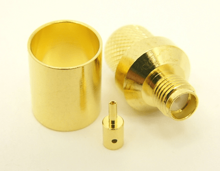 SMA-female, cable end, crimp-on, for RG-8, RG-11, RG-83, RG-213, RG-214, RG-393, LMR-400, Belden 8237, Belden 8267, Belden 8268, Belden 9011, and Belden 9913 coaxial cable. (P/N: 7806-400)
