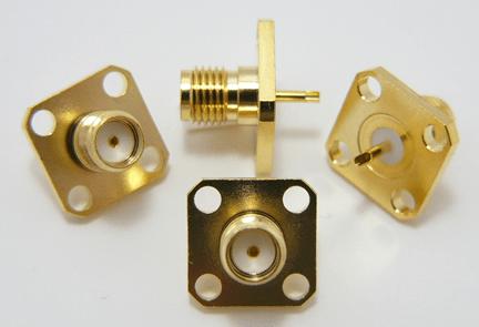 SMA-female / 4 hole flange panel mount (P/N: 7814)