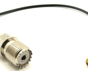 UHF-female / SMA-male with 10 inches of RG-174 coaxial cable (P/N: 7828-CBL-10)