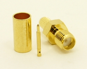 RP-SMA-female, cable end, crimp-on, for RG-142, RG-400, RG-58, RG-58A/U, LMR-195, LMR-200, Belden 7807, Belden 8219, Belden 8259, and Belden 9201 coaxial cable. (P/N: 8896-58)