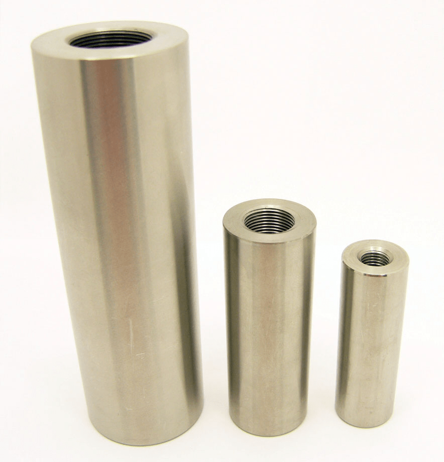 Stainless steel coupler parts for fiberglass round solid