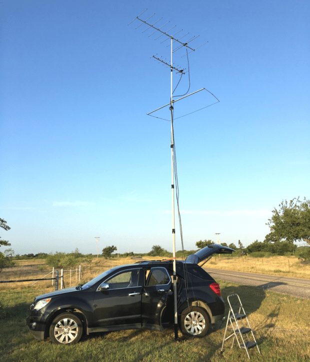 Heavy Duty Mast used with a Drive on mount for a mobile contest rid K5ND ARRL contest rig