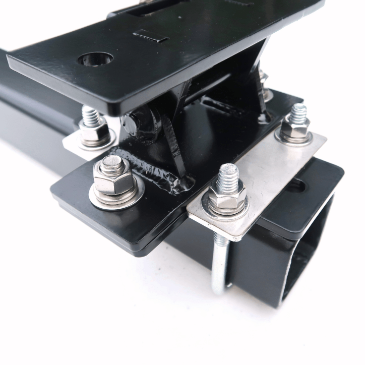 Trailer Hitch Mast Mount Assembley Tilt and Cross attached to Hitch Bar fully assembled correct orientation - Max-Gain Systems, Inc.