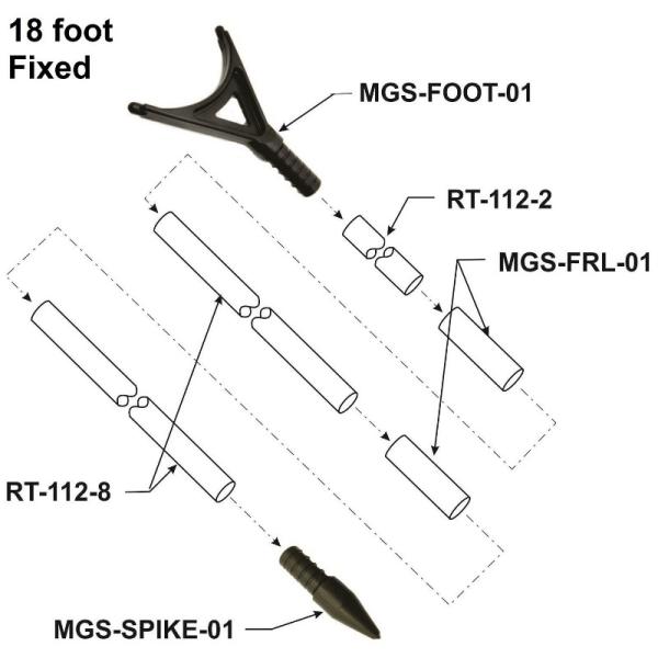 PPF18F 18 foot long DIY Fiberglass Push Pole Fixed Diagram - Max-Gain Systems, Inc.