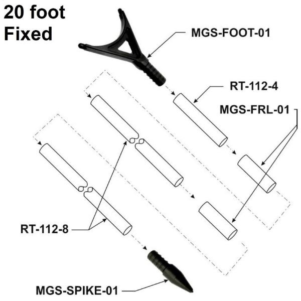 PPF20F 20 foot long DIY Fiberglass Push Pole Fixed Diagram - Max-Gain Systems, Inc.