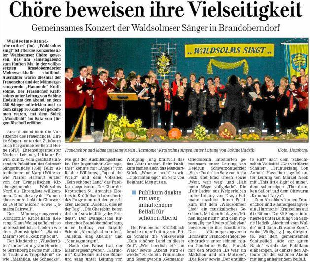 02 11 2009 choere beweisen ihre vielseitigkeit - Zeitungsberichte
