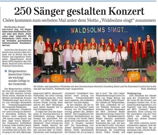 03 11 2010 250 saenger gestalten konzert - Zeitungsberichte