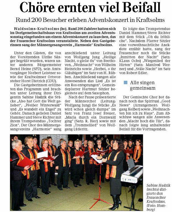 10 12 2008 choere ernten viel beifall - Zeitungsberichte