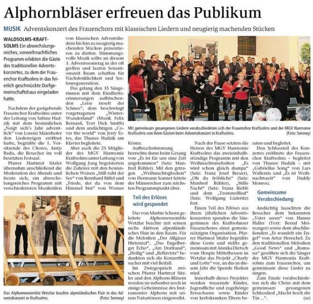 16 12 2015 alphornblc3a4ser erfreuen das publikum - Zeitungsberichte