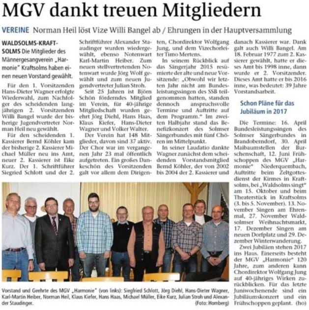23 02 2016 mgv dankt treuen mitgliedern - Zeitungsberichte