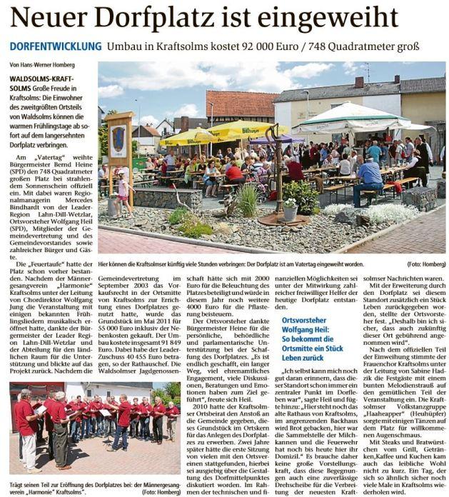 30 1  05 2017 neuer dorfplatz ist eingeweiht - Zeitungsberichte