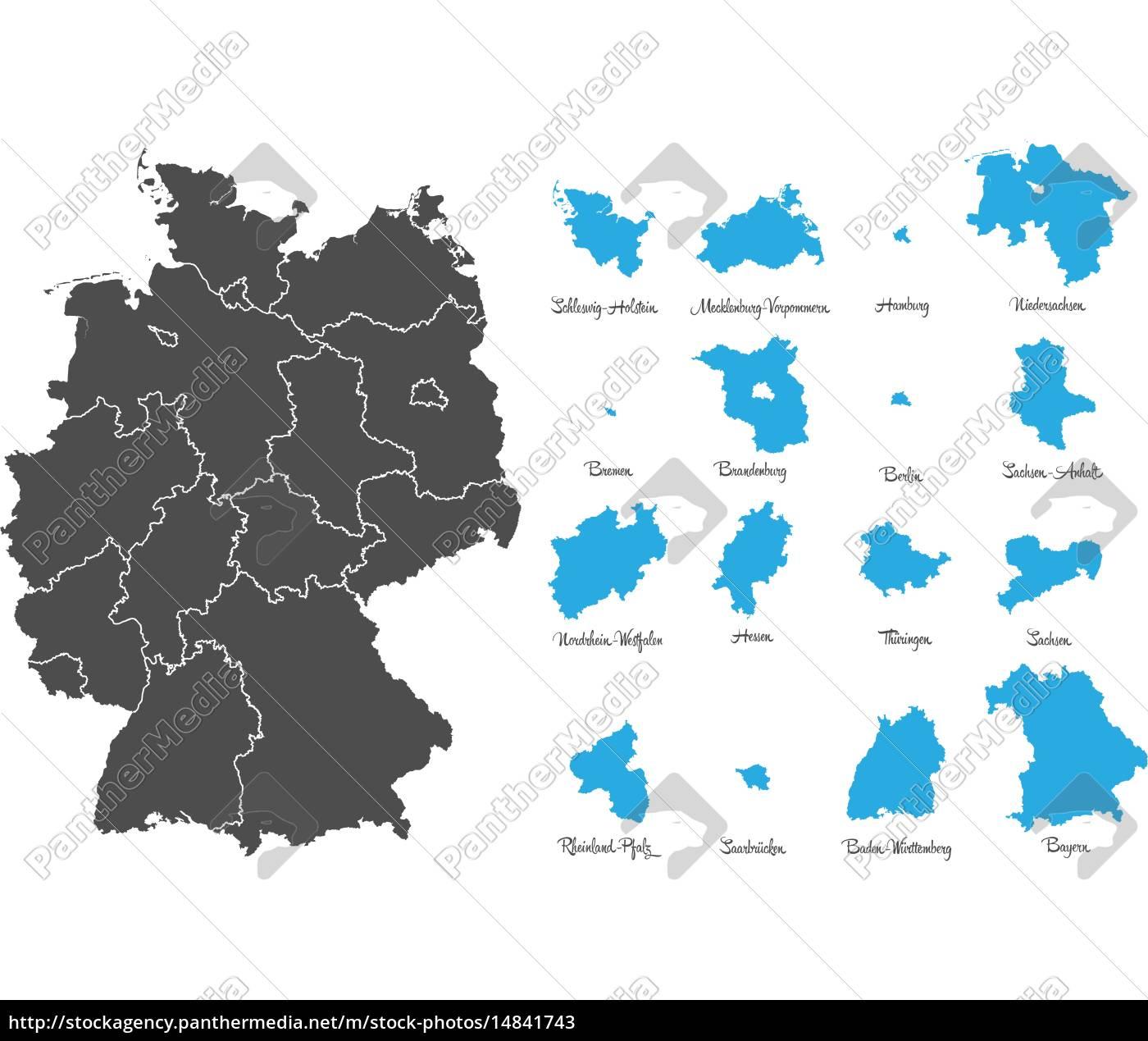 Lizenzfreie Vektorgrafik 14841743 Deutschland Karte Mit Bundesländern Vektor Set