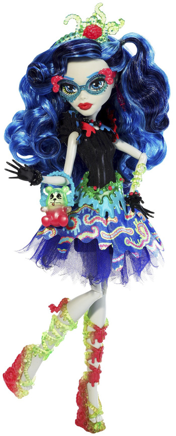 ghoulias frightmare experience is a gummy delight her hair is long wavy and streaked with varying shades of blue in her hair is a translucent headband - Ghoulia Yelps