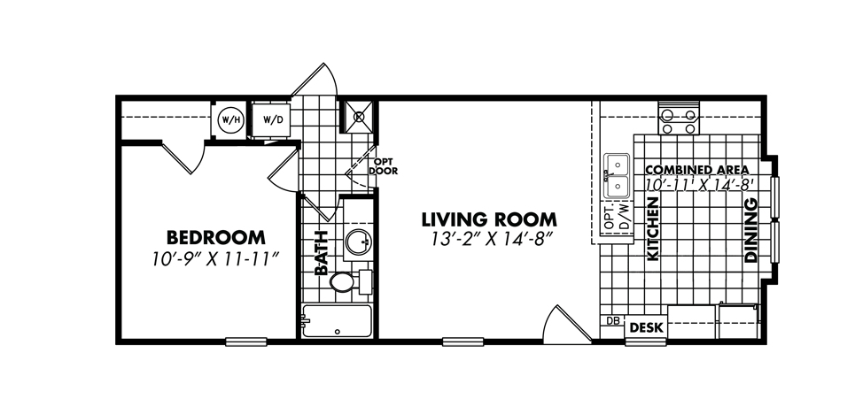 LESS 1644-11-SFKB 1 Bedroom single wide Legacy