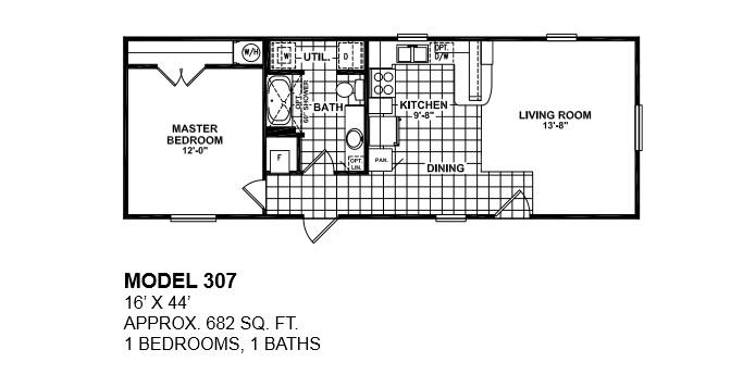 model-307-16x44-1bedroom-1bath-oak-creek-mobile-home | tiny houses