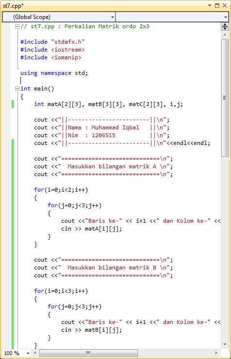Program Perkalian Matriks C++ : program, perkalian, matriks, Program, Perkalian, Matrik, Dengan, Iqbal