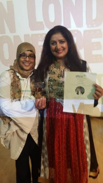 Nominee Onjali Rauf with winner, Sana