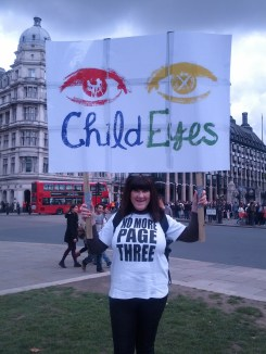 Child Eyes looks out at the crowds in Parliament Square