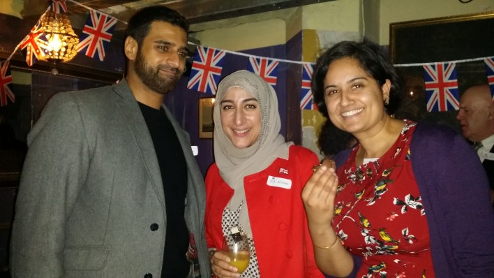 Chin up! Codebreaker Yasir with Trustees Remona and Satdeep
