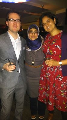 Trustees Alex (left) and Satdeep (right) with CEO Onjali (centre)