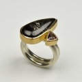 silver and 18ct gold with rutilated quartz and spinel (£720)