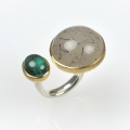 silver and 22ct gold with rutillated quartz and tourmaline (£890)