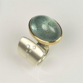 22ct gold and silver with moss aquamarine and diamonds (£1570)