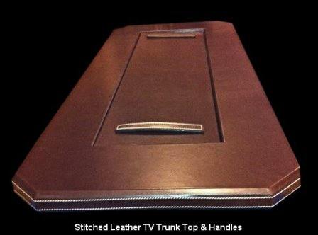 Stitched Leather TV Trunk Top & Handles