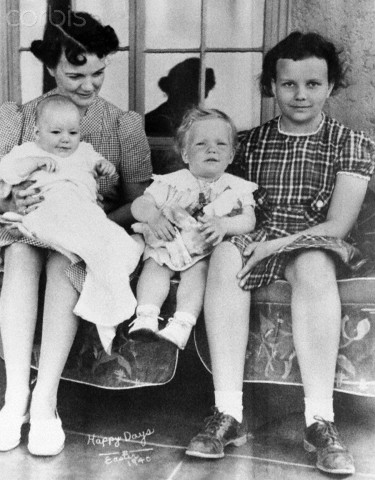 28 Apr 1940, El Paso, Texas, USA --- Original caption: Sandra Day O'Connor (right) is shown in family album picture from Easter 1940, taken on family ranch. Her mother, Ada Mae Day, holds brother Alan, who now runs the ranch. Sister Ann is in middle. President Reagan has nominated Mrs. O'Connor to the U.S. Supreme Court. --- Image by © Bettmann/CORBIS