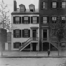 Photograph of the Mary Surratt house at 604 H St. N.W. Washington, D.C., where John Wilkes Booth, John Surratt Jr., and others met frequently in late 1864 into 1865.