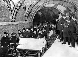 The first subway ride - Mayor George B. McClellan is in the first row on the far right. Photo courtesy of the New York Times.