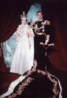 Queen Elizabeth II with the Duke of Edinburgh in her coronation portrait, 2 June 1953