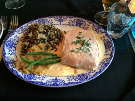 Vacuum cooked salmon and wild rice.