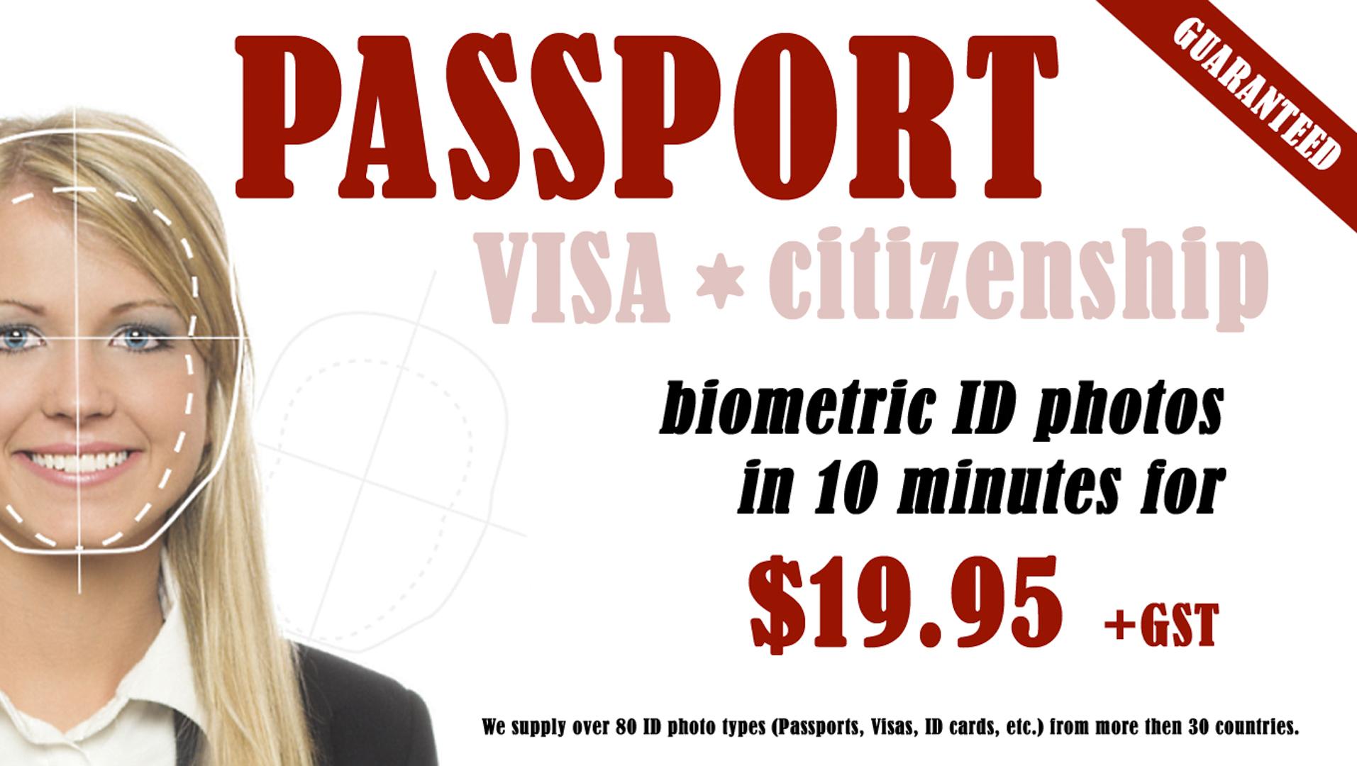 Guaranteed Passport Photos for $19.95