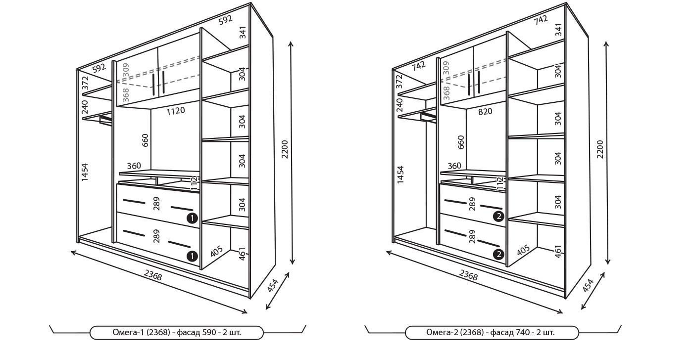 шкаф купе с размерами